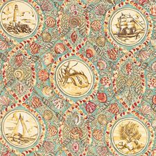 Aqua Animal Drapery and Upholstery Fabric by Vervain