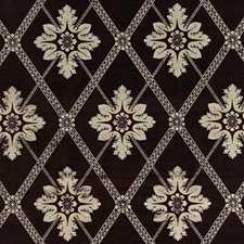 Coffee Floral Drapery and Upholstery Fabric by Vervain