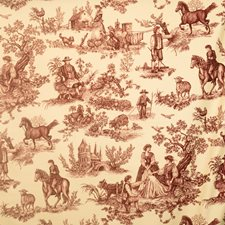 Red On Ecru Print Pattern Drapery and Upholstery Fabric by Vervain