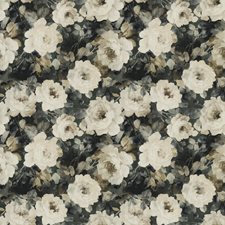 Blue Smoke Floral Drapery and Upholstery Fabric by S. Harris