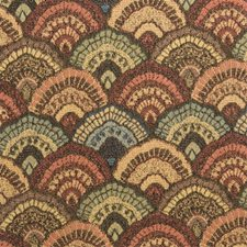 Green/Burgundy/Red Bargellos Drapery and Upholstery Fabric by Kravet