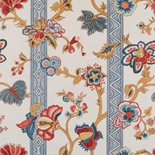 Red/Blue Floral Large Drapery and Upholstery Fabric by Duralee