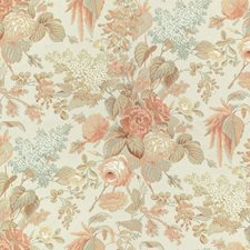 Apricot/Moss Botanical Drapery and Upholstery Fabric by Lee Jofa