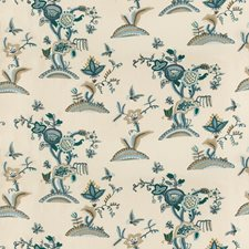 Slate/Teal Crewel Drapery and Upholstery Fabric by Lee Jofa