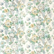 Slate/Aqua Botanical Drapery and Upholstery Fabric by Lee Jofa
