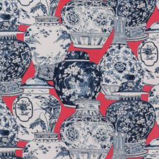 Chili/Blue Chinoiserie Drapery and Upholstery Fabric by Lee Jofa
