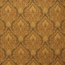 Rust/Yellow/Brown Damask Drapery and Upholstery Fabric by Kravet