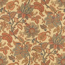 Beige/Blue/Orange Jacobeans Drapery and Upholstery Fabric by Kravet