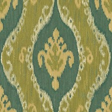 Green/Blue/Beige Ikat Drapery and Upholstery Fabric by Kravet