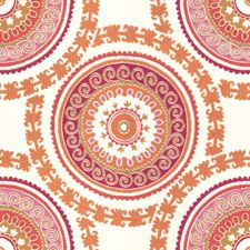 White/Pink/Orange Ethnic Drapery and Upholstery Fabric by Kravet