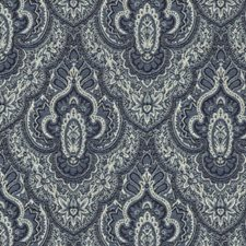 Blue/Light Blue/White Damask Drapery and Upholstery Fabric by Kravet