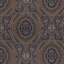 Blue/Beige/Brown Damask Drapery and Upholstery Fabric by Kravet