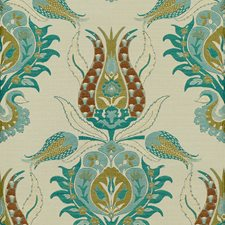 White/Blue Damask Drapery and Upholstery Fabric by Kravet