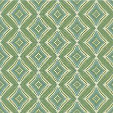 Ivory/Green/Light Blue Diamond Drapery and Upholstery Fabric by Kravet
