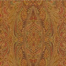 Gold/Green/Rust Damask Drapery and Upholstery Fabric by Kravet