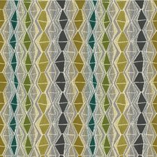 Green/Teal/Ivory Diamond Drapery and Upholstery Fabric by Kravet