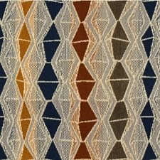 Brown/Blue/Gold Diamond Drapery and Upholstery Fabric by Kravet