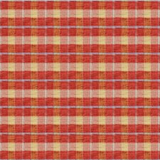 Coral/Yellow/Light Blue Plaid Drapery and Upholstery Fabric by Kravet