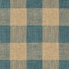 Teal/Beige Check Drapery and Upholstery Fabric by Kravet