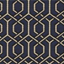 Dark Blue/Espresso/Ivory Modern Drapery and Upholstery Fabric by Kravet