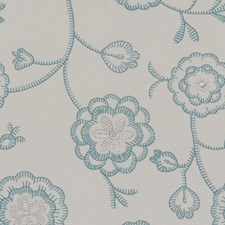 Light Blue/Ivory Botanical Drapery and Upholstery Fabric by Kravet