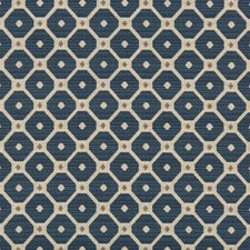Blue/Beige/Light Grey Diamond Drapery and Upholstery Fabric by Kravet