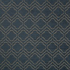 Dark Blue/Gold Geometric Drapery and Upholstery Fabric by Kravet