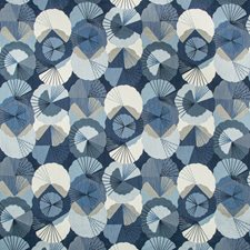 Blue/Indigo/White Asian Drapery and Upholstery Fabric by Kravet