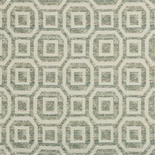 White/Teal Geometric Drapery and Upholstery Fabric by Kravet