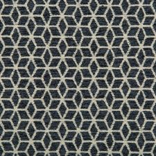 Light Grey/Indigo Geometric Drapery and Upholstery Fabric by Kravet