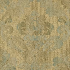 Beige/Blue Damask Drapery and Upholstery Fabric by Kravet