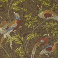 Green/Brown Birds Drapery and Upholstery Fabric by Duralee