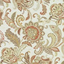 Terra/Sage Floral Large Drapery and Upholstery Fabric by Duralee