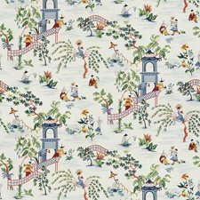 Navy Asian Drapery and Upholstery Fabric by Stroheim