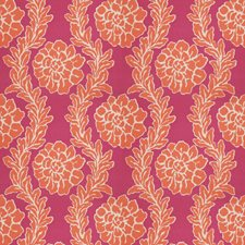 Pink Persimmon Floral Drapery and Upholstery Fabric by Stroheim