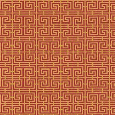 Cinnabar/Gold Drapery and Upholstery Fabric by Schumacher