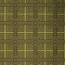 Avocado Geometric Drapery and Upholstery Fabric by Trend