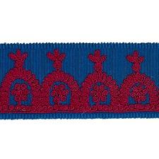 Red On Blue Trim by Schumacher