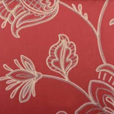 Poppy Red Embroidery Drapery and Upholstery Fabric by Highland Court