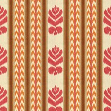 Pink/Kumquat Ikat Drapery and Upholstery Fabric by Brunschwig & Fils