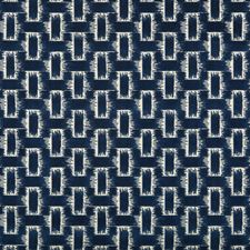 Indigo Geometric Drapery and Upholstery Fabric by Brunschwig & Fils