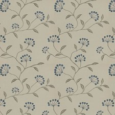 Blue Silver Embroidery Drapery and Upholstery Fabric by Trend