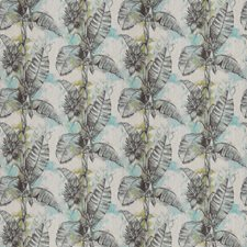 Aqua Citrine Leaves Drapery and Upholstery Fabric by Vervain