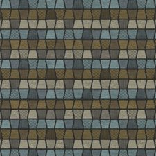 Blue/Brown Geometric Drapery and Upholstery Fabric by Duralee