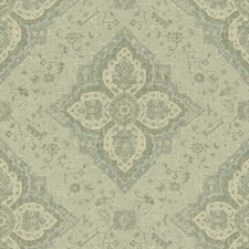 Sage/Light Blue/Ivory Damask Drapery and Upholstery Fabric by Kravet