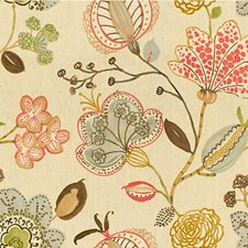 Beige/Pink/Grey Botanical Drapery and Upholstery Fabric by Kravet