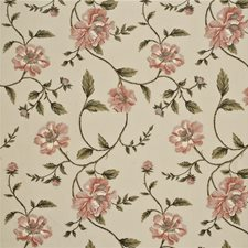 Coral/Olive Embroidery Drapery and Upholstery Fabric by G P & J Baker