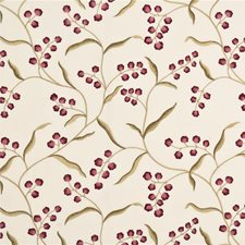 Cranberry/Sand Embroidery Drapery and Upholstery Fabric by G P & J Baker