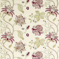 Tea Rose/Claret Embroidery Drapery and Upholstery Fabric by G P & J Baker