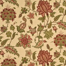 Red/Green Botanical Drapery and Upholstery Fabric by G P & J Baker